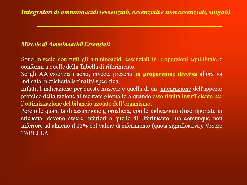 Integratori di amminoacidi (essenziali, essenziali e non essenziali, singoli)