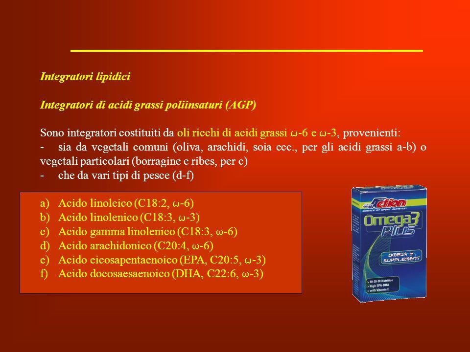 Integratori lipidici Integratori di acidi grassi poliinsaturi (AGP)