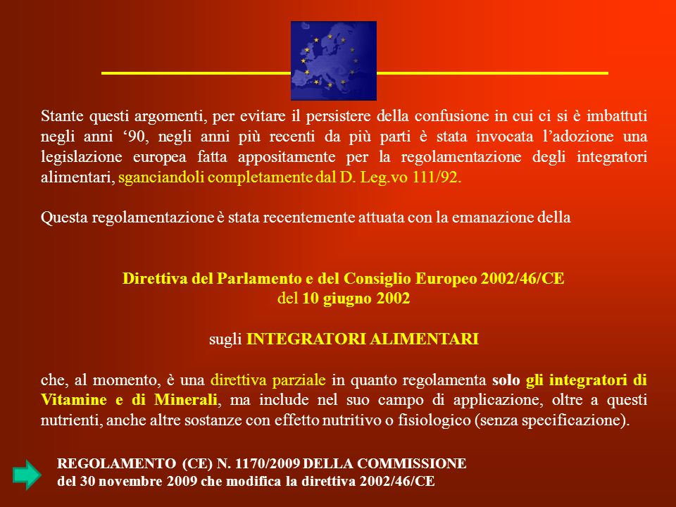 Direttiva del Parlamento e del Consiglio Europeo 2002/46/CE