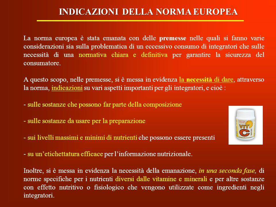 INDICAZIONI DELLA NORMA EUROPEA