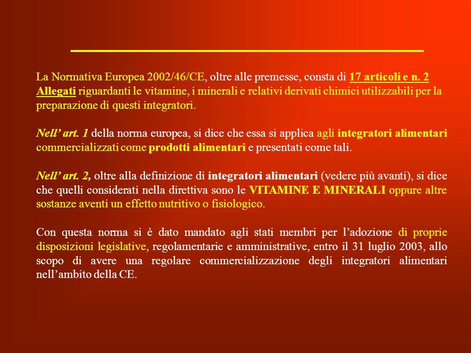 La Normativa Europea 2002/46/CE, oltre alle premesse, consta di 17 articoli e n. 2 Allegati riguardanti le vitamine, i minerali e relativi derivati chimici utilizzabili per la preparazione di questi integratori.