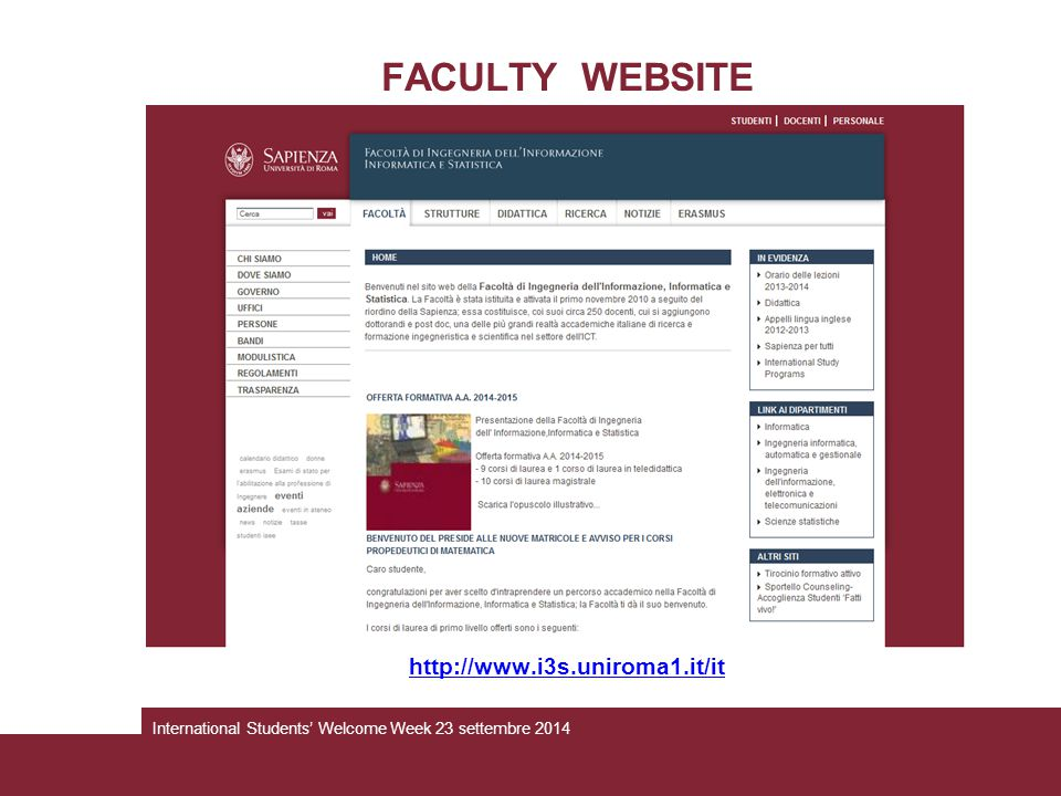 FACULTY WEBSITE http://www.i3s.uniroma1.it/it