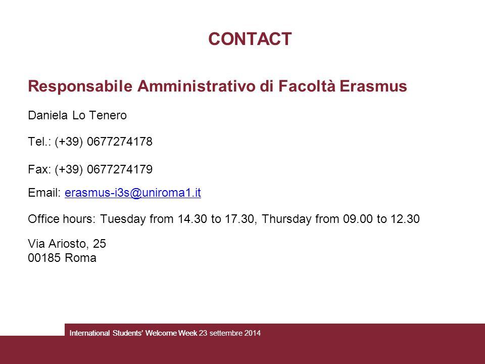 CONTACT Responsabile Amministrativo di Facoltà Erasmus