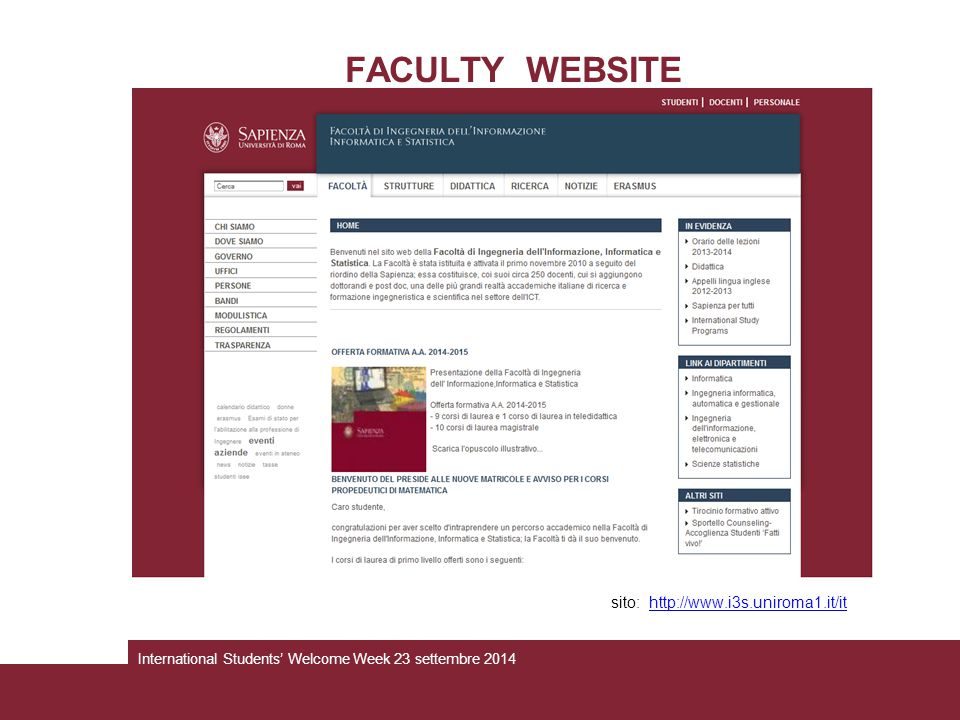 FACULTY WEBSITE sito: http://www.i3s.uniroma1.it/it