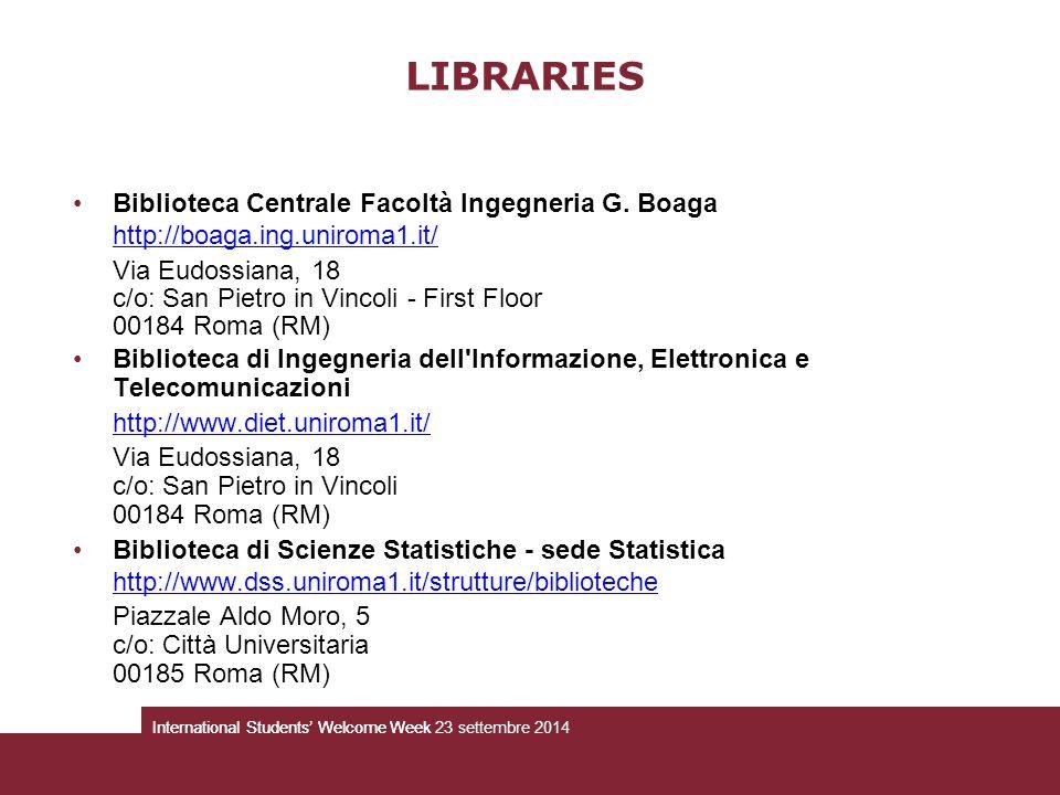 LIBRARIES Biblioteca Centrale Facoltà Ingegneria G. Boaga