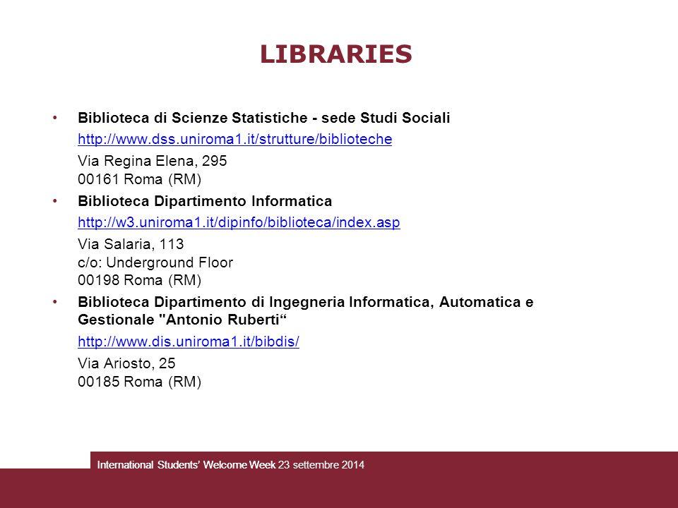 LIBRARIES Biblioteca di Scienze Statistiche - sede Studi Sociali