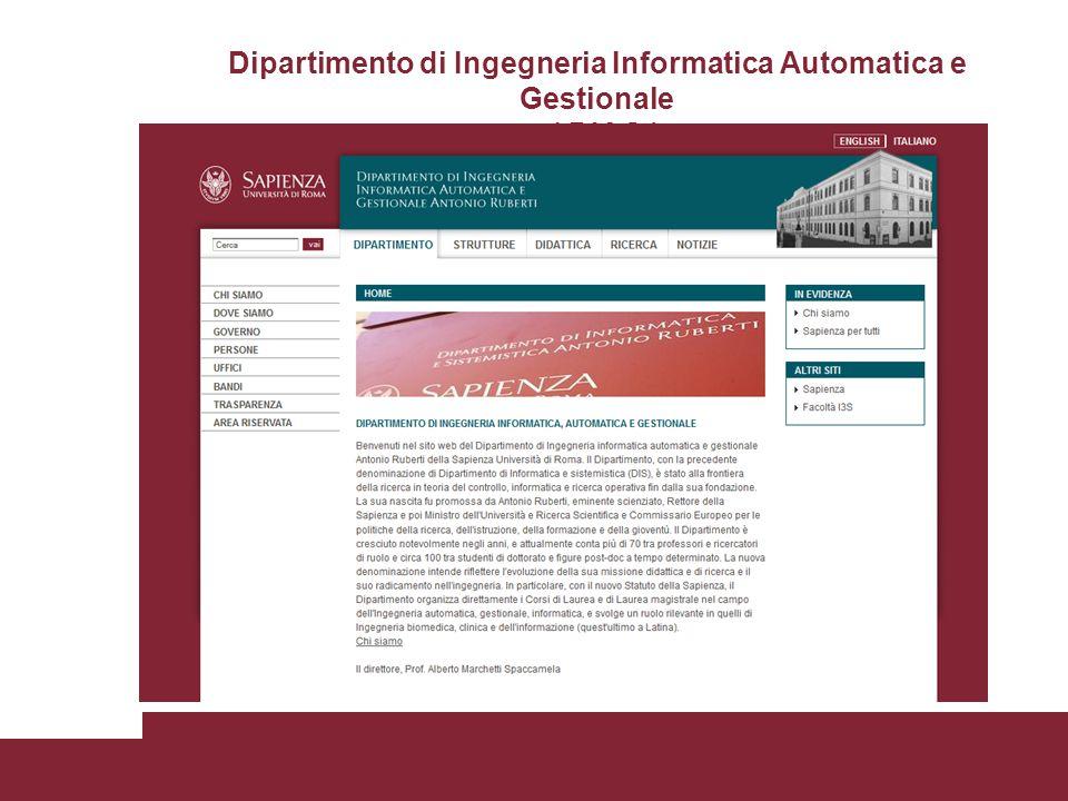 Dipartimento di Ingegneria Informatica Automatica e Gestionale ( DIAG )