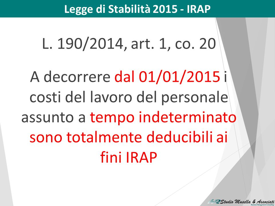 Legge di Stabilità 2015 - IRAP
