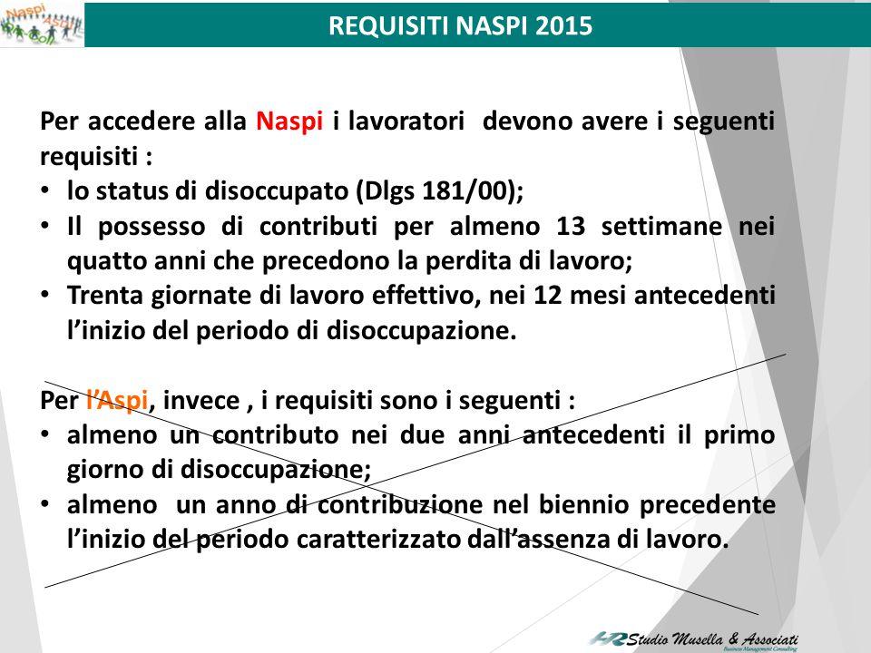 REQUISITI NASPI 2015 Per accedere alla Naspi i lavoratori devono avere i seguenti requisiti : lo status di disoccupato (Dlgs 181/00);
