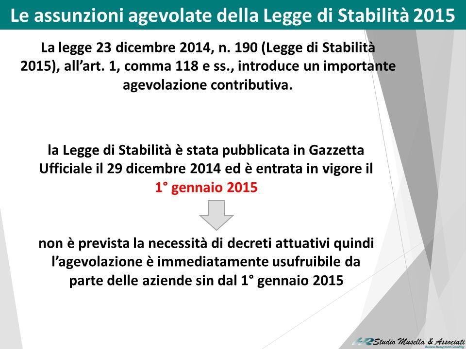 Le assunzioni agevolate della Legge di Stabilità 2015