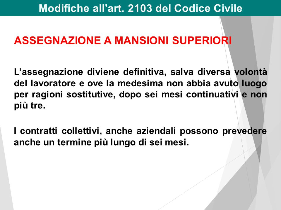 Modifiche all'art. 2103 del Codice Civile