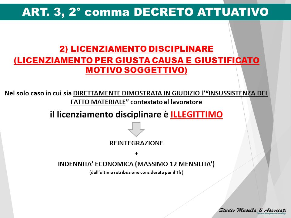ART. 3, 2° comma DECRETO ATTUATIVO