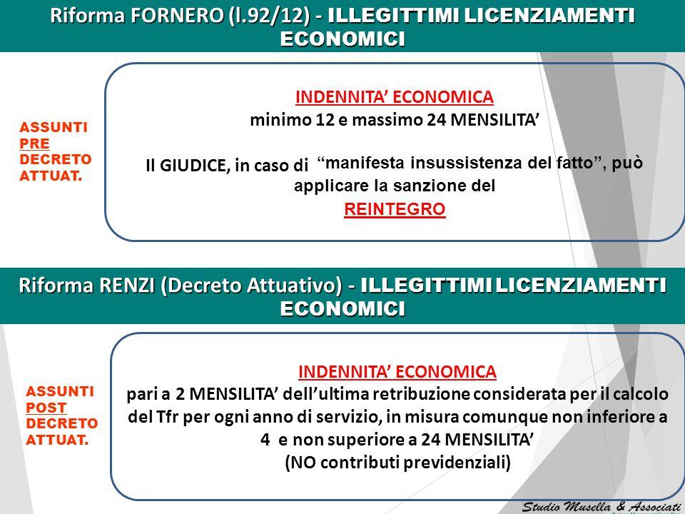 Riforma FORNERO (l.92/12) - ILLEGITTIMI LICENZIAMENTI ECONOMICI