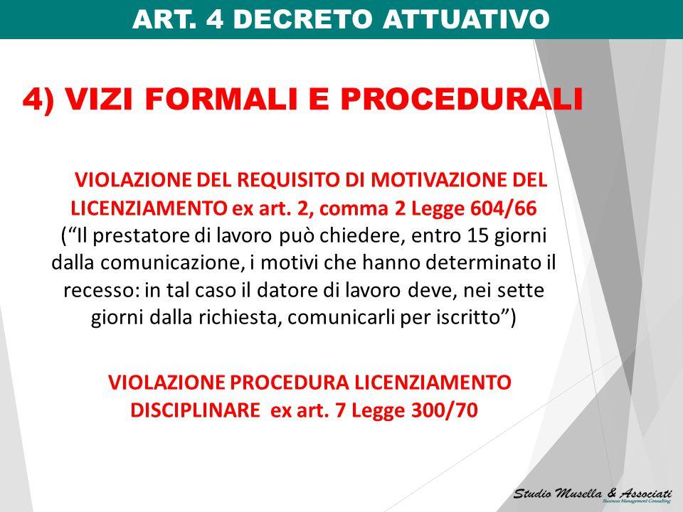 4) VIZI FORMALI E PROCEDURALI