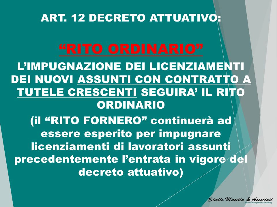 ART. 12 DECRETO ATTUATIVO:
