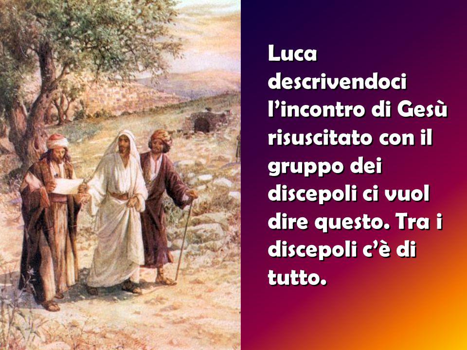 Luca descrivendoci l'incontro di Gesù risuscitato con il gruppo dei discepoli ci vuol dire questo.