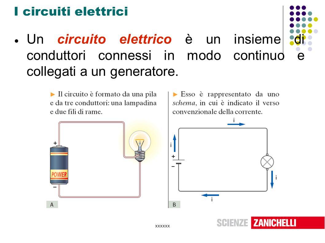 I circuiti elettrici Un circuito elettrico è un insieme di conduttori connessi in modo continuo e collegati a un generatore.