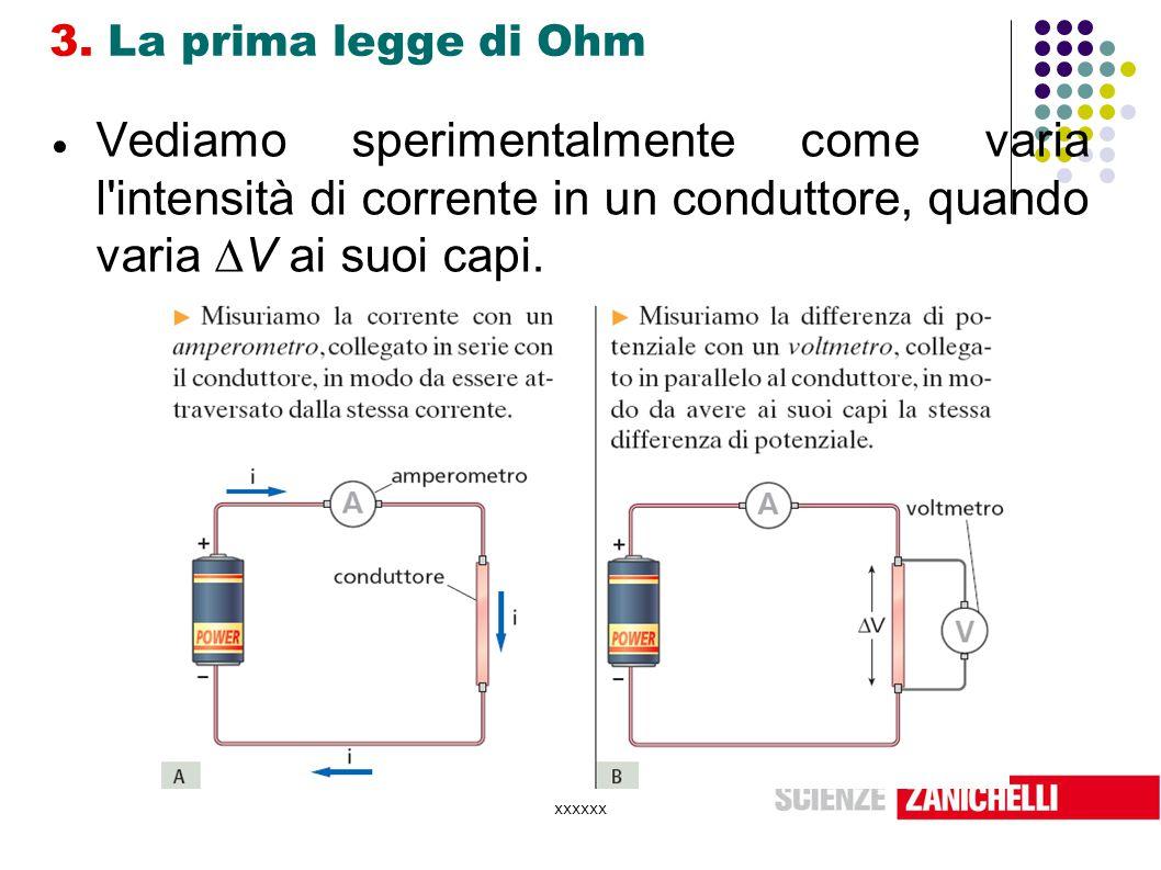 3. La prima legge di Ohm Vediamo sperimentalmente come varia l intensità di corrente in un conduttore, quando varia V ai suoi capi.