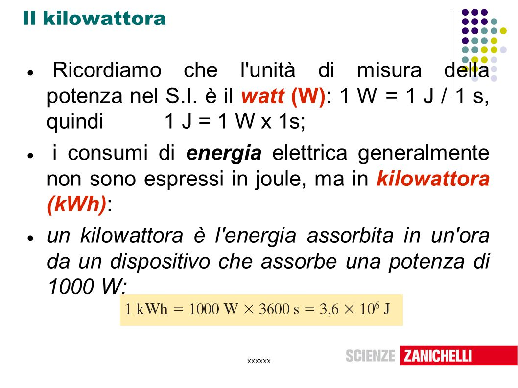 Il kilowattora Ricordiamo che l unità di misura della potenza nel S.I. è il watt (W): 1 W = 1 J / 1 s, quindi 1 J = 1 W x 1s;