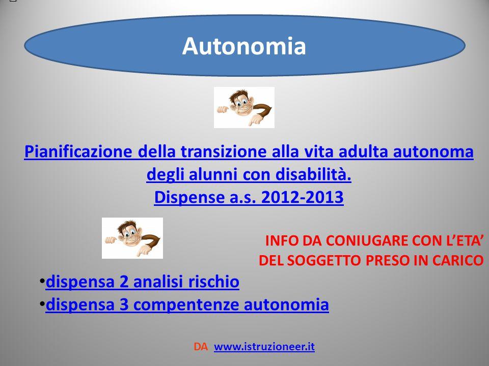 Autonomia Pianificazione della transizione alla vita adulta autonoma degli alunni con disabilità. Dispense a.s. 2012-2013.