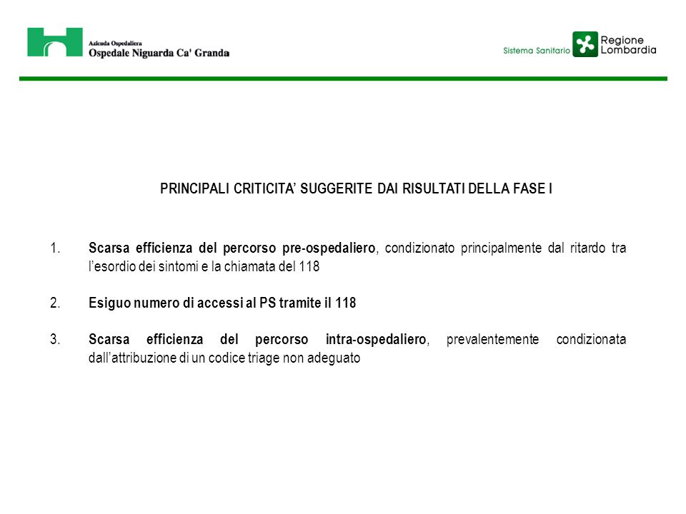 PRINCIPALI CRITICITA' SUGGERITE DAI RISULTATI DELLA FASE I