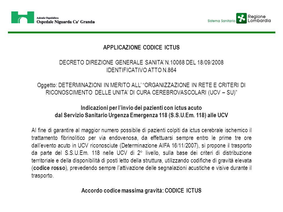 APPLICAZIONE CODICE ICTUS