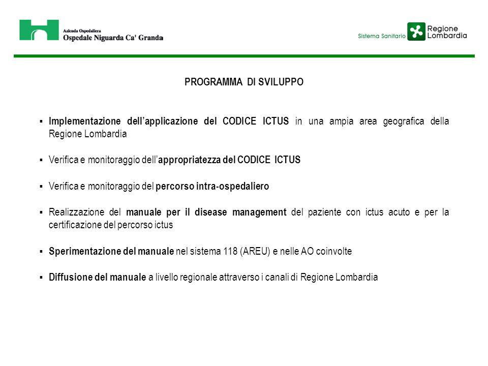 PROGRAMMA DI SVILUPPO Implementazione dell'applicazione del CODICE ICTUS in una ampia area geografica della Regione Lombardia.