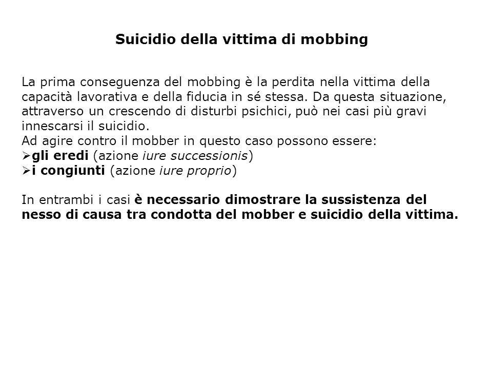 Suicidio della vittima di mobbing