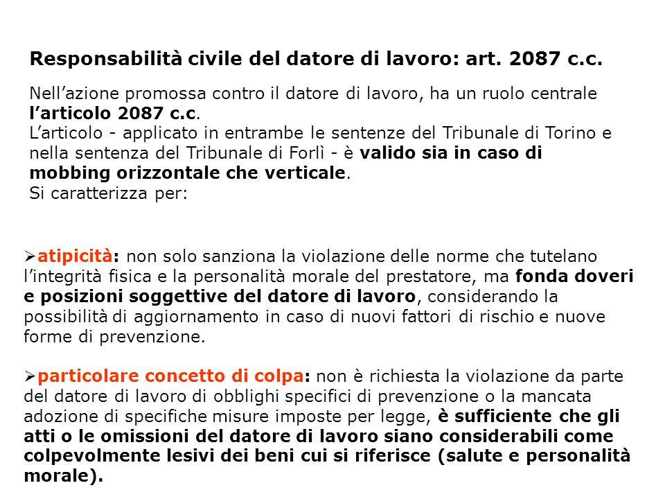Responsabilità civile del datore di lavoro: art. 2087 c.c.