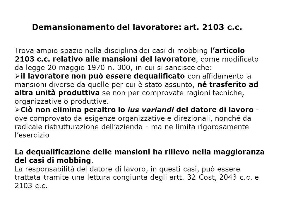 Demansionamento del lavoratore: art. 2103 c.c.