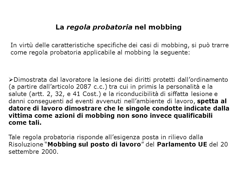 La regola probatoria nel mobbing