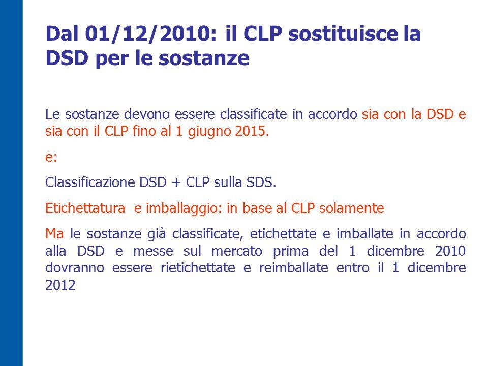 Dal 01/12/2010: il CLP sostituisce la DSD per le sostanze
