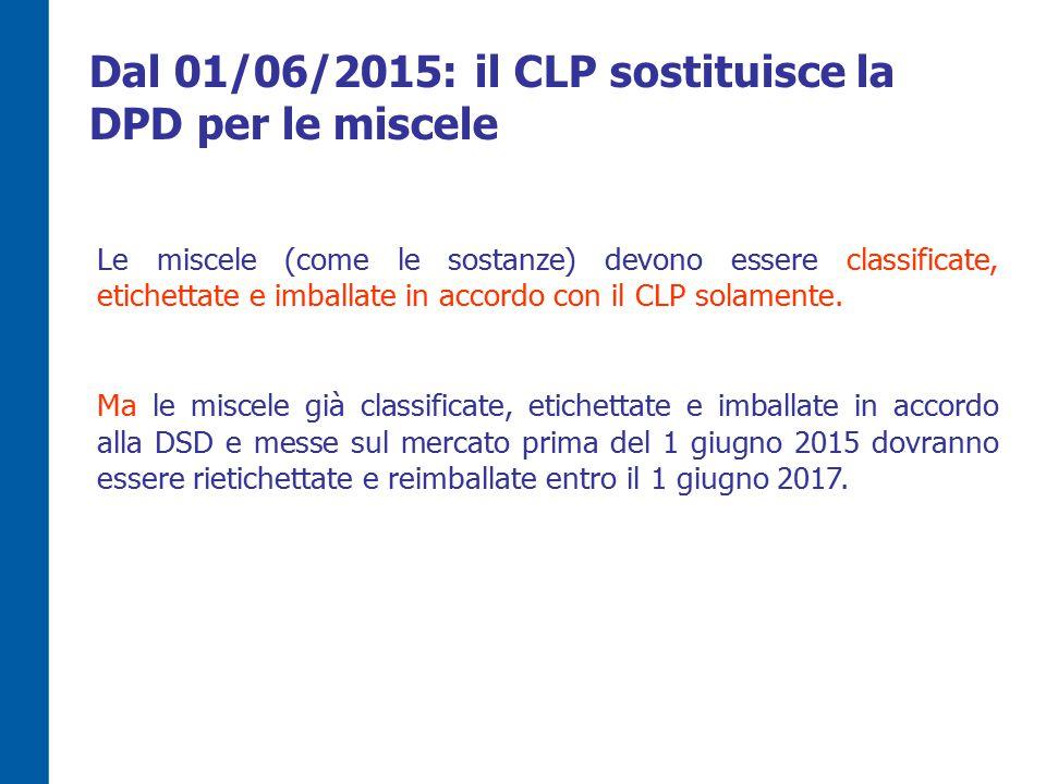 Dal 01/06/2015: il CLP sostituisce la DPD per le miscele
