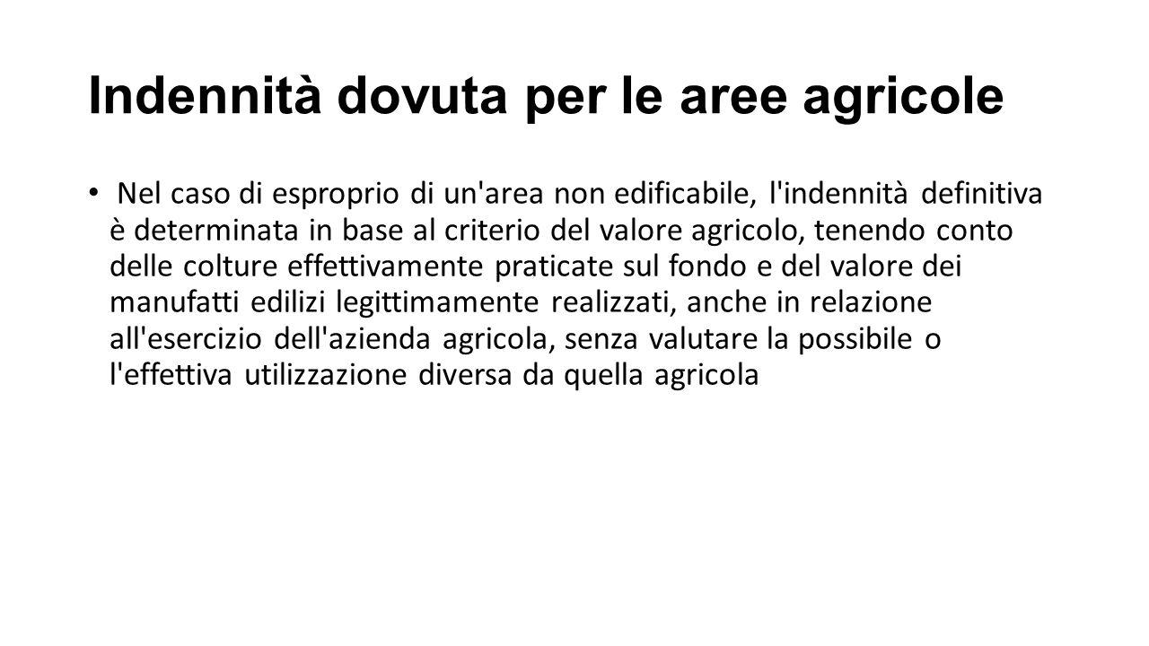 Indennità dovuta per le aree agricole