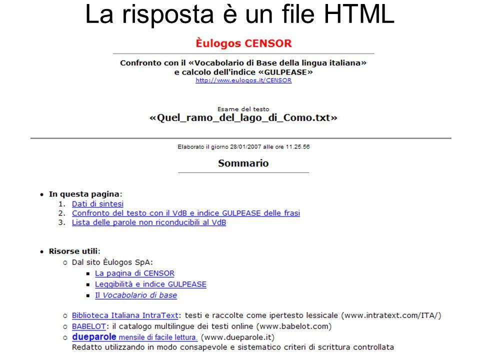 La risposta è un file HTML