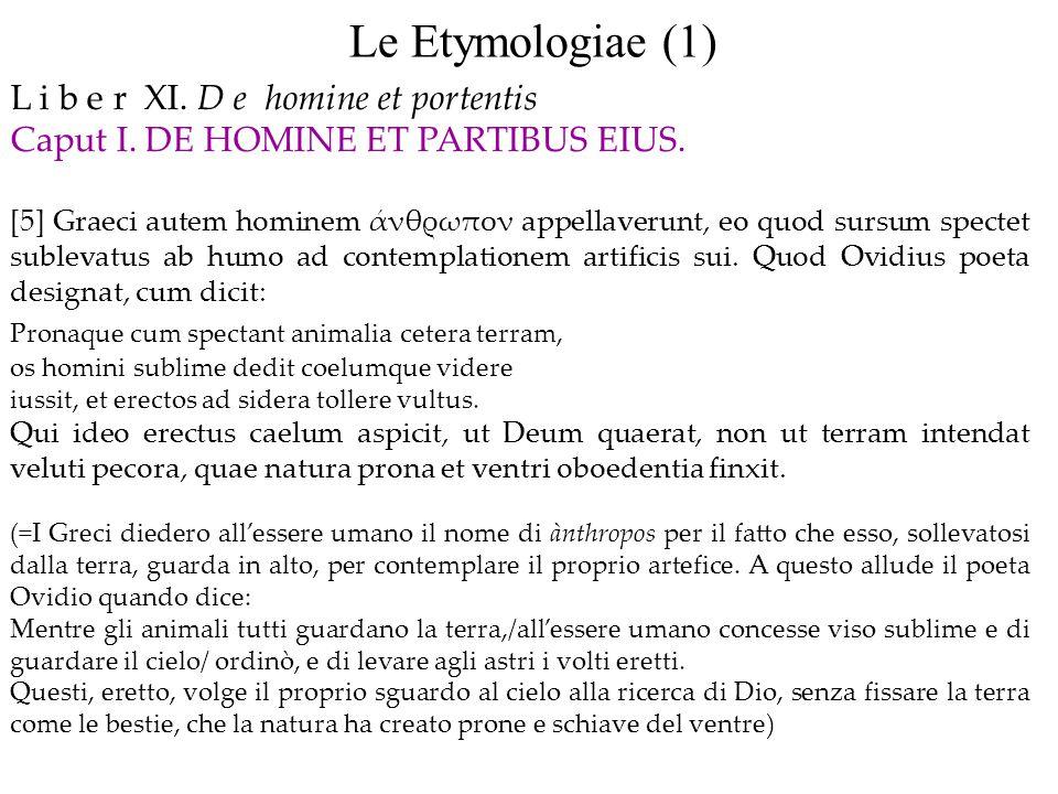 Le Etymologiae (1) L i b e r XI. D e homine et portentis