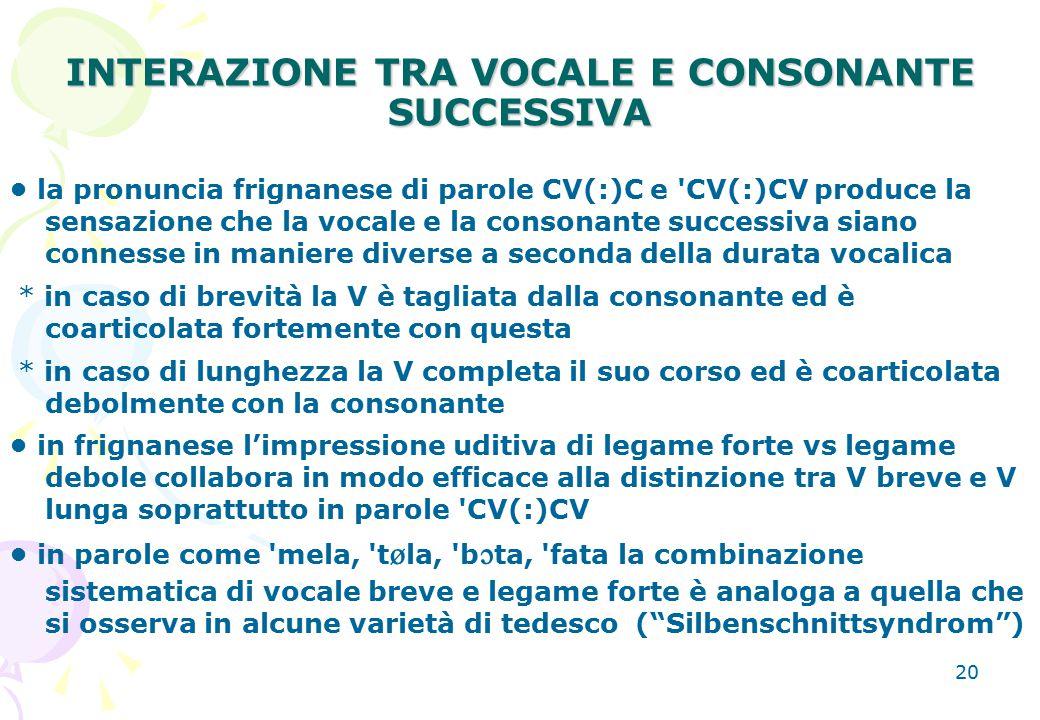 INTERAZIONE TRA VOCALE E CONSONANTE SUCCESSIVA