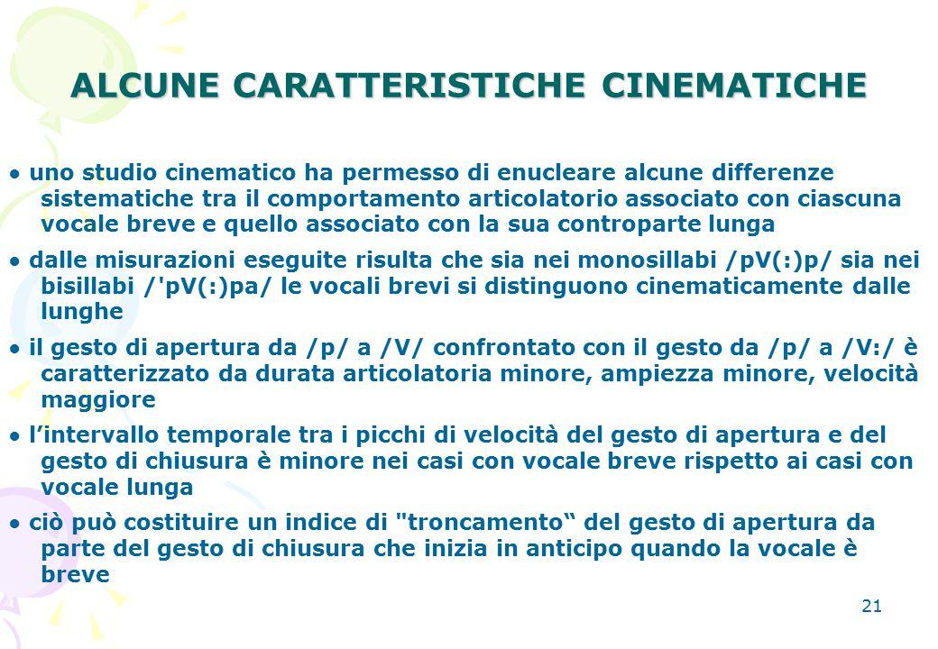 ALCUNE CARATTERISTICHE CINEMATICHE