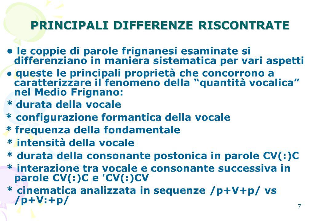 PRINCIPALI DIFFERENZE RISCONTRATE