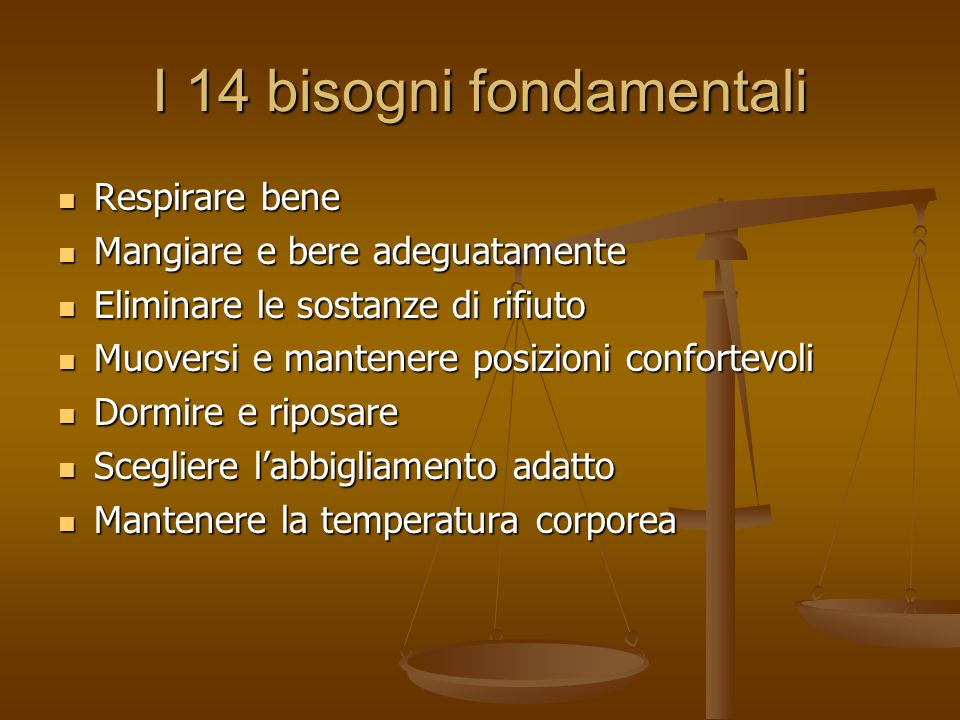 I 14 bisogni fondamentali