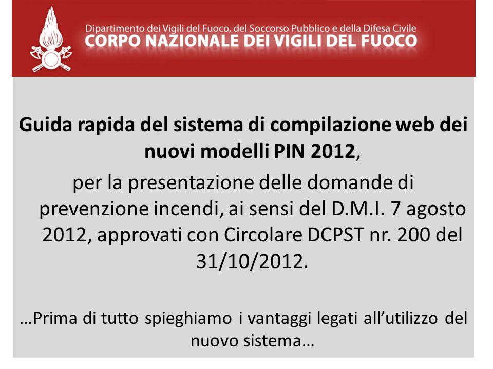 Guida rapida del sistema di compilazione web dei nuovi modelli PIN 2012,