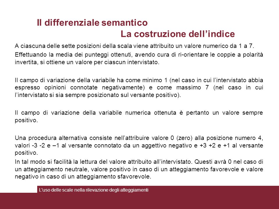 Il differenziale semantico La costruzione dell'indice