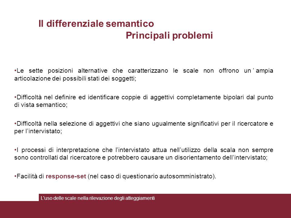 Il differenziale semantico Principali problemi