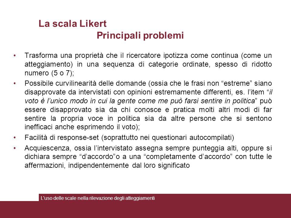 La scala Likert Principali problemi