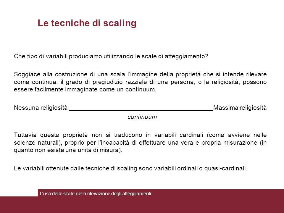 Le tecniche di scaling