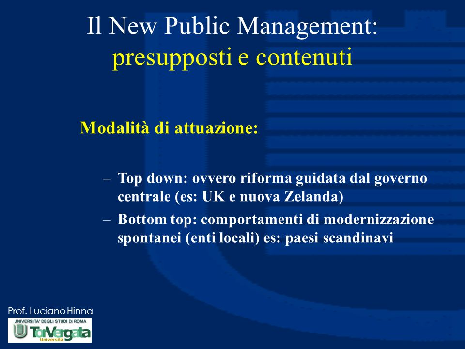Il New Public Management: presupposti e contenuti