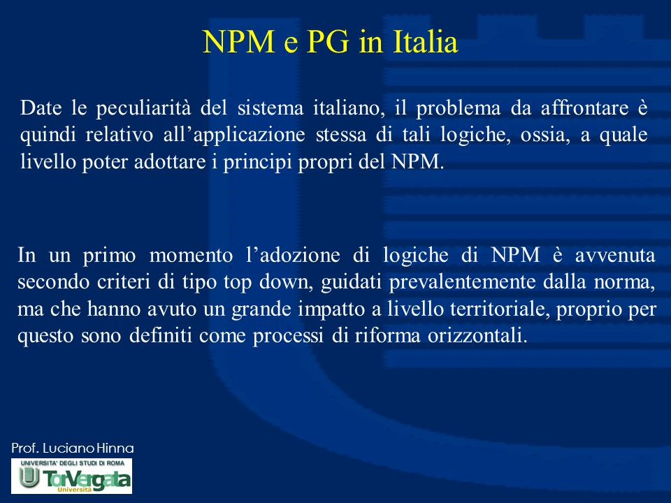 NPM e PG in Italia