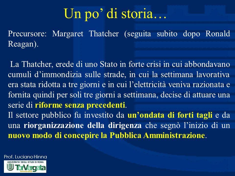 Un po' di storia… Precursore: Margaret Thatcher (seguita subito dopo Ronald Reagan).