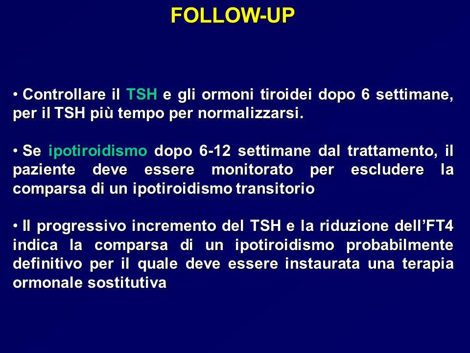 FOLLOW-UP Controllare il TSH e gli ormoni tiroidei dopo 6 settimane, per il TSH più tempo per normalizzarsi.