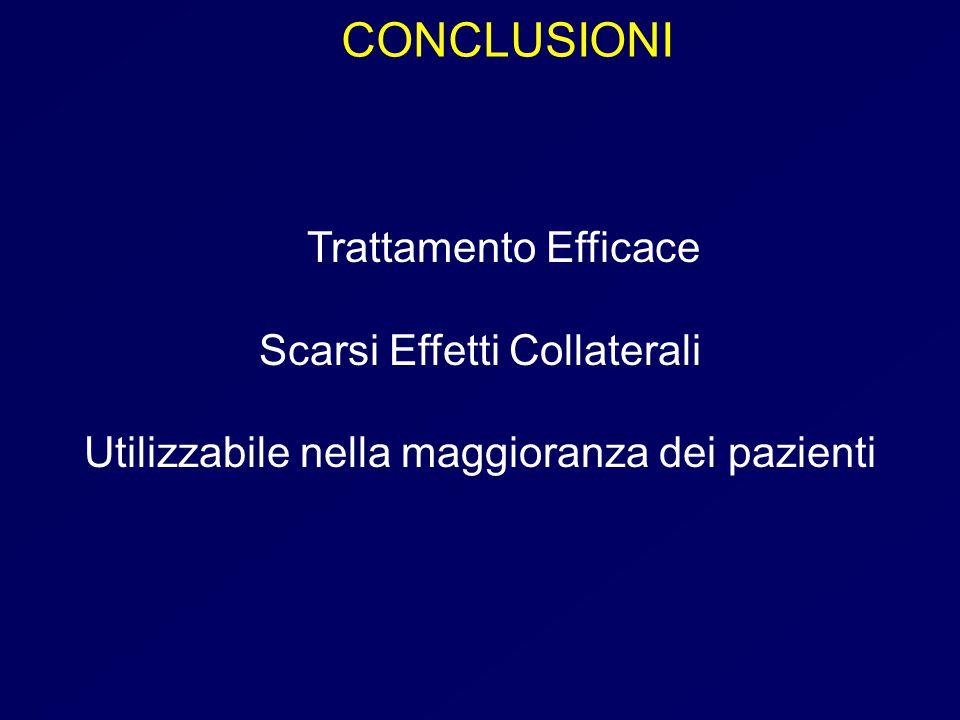 CONCLUSIONI Trattamento Efficace Scarsi Effetti Collaterali